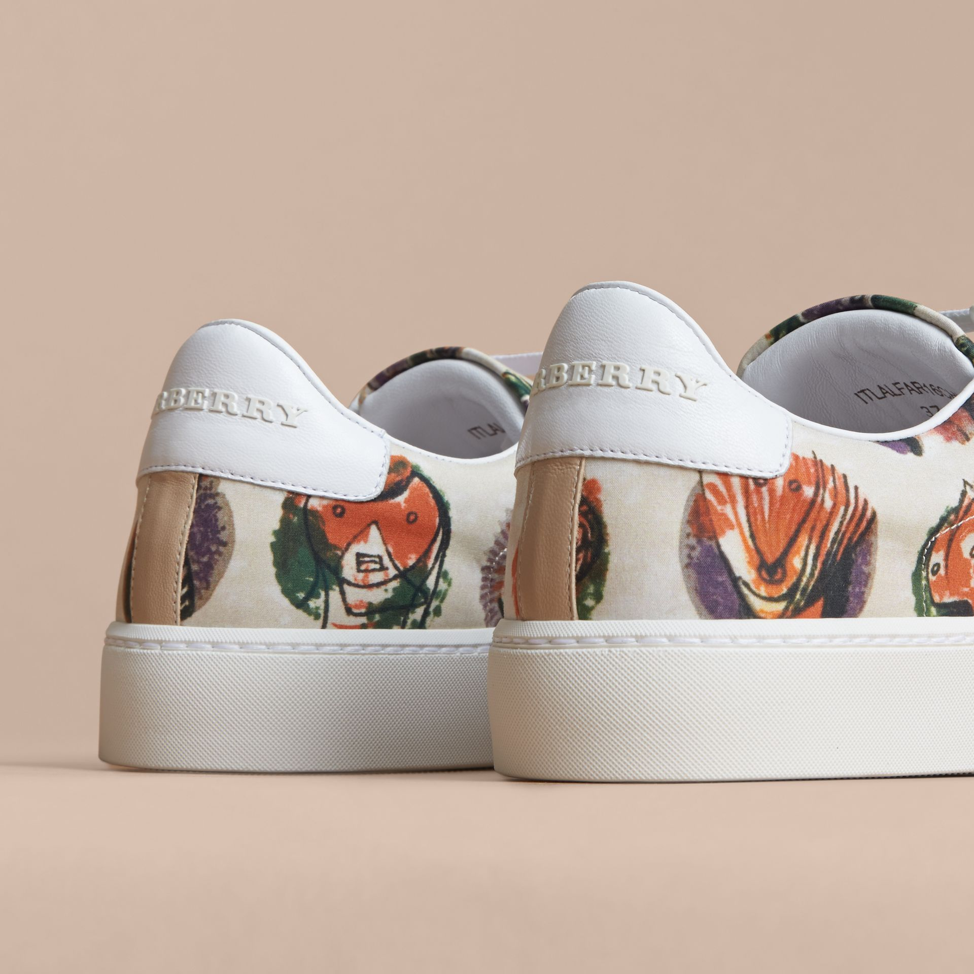 Pallas Heads Print Cotton and Leather Trainers in Natural White - Women | Burberry - gallery image 3