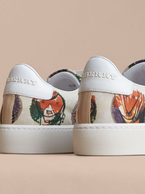 Pallas Heads Print Cotton and Leather Trainers in Natural White - Women | Burberry - cell image 2