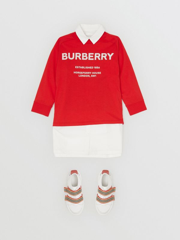 Long-sleeve Horseferry Print Cotton Top in Bright Red | Burberry - cell image 2
