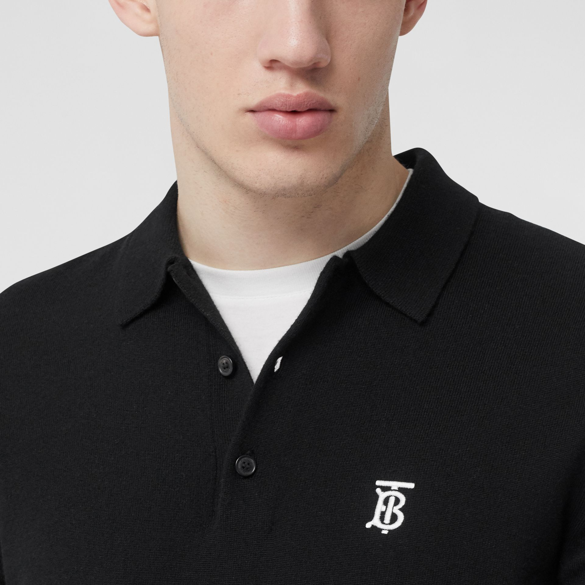 Long-sleeve Monogram Motif Merino Wool Polo Shirt in Black - Men | Burberry - gallery image 1