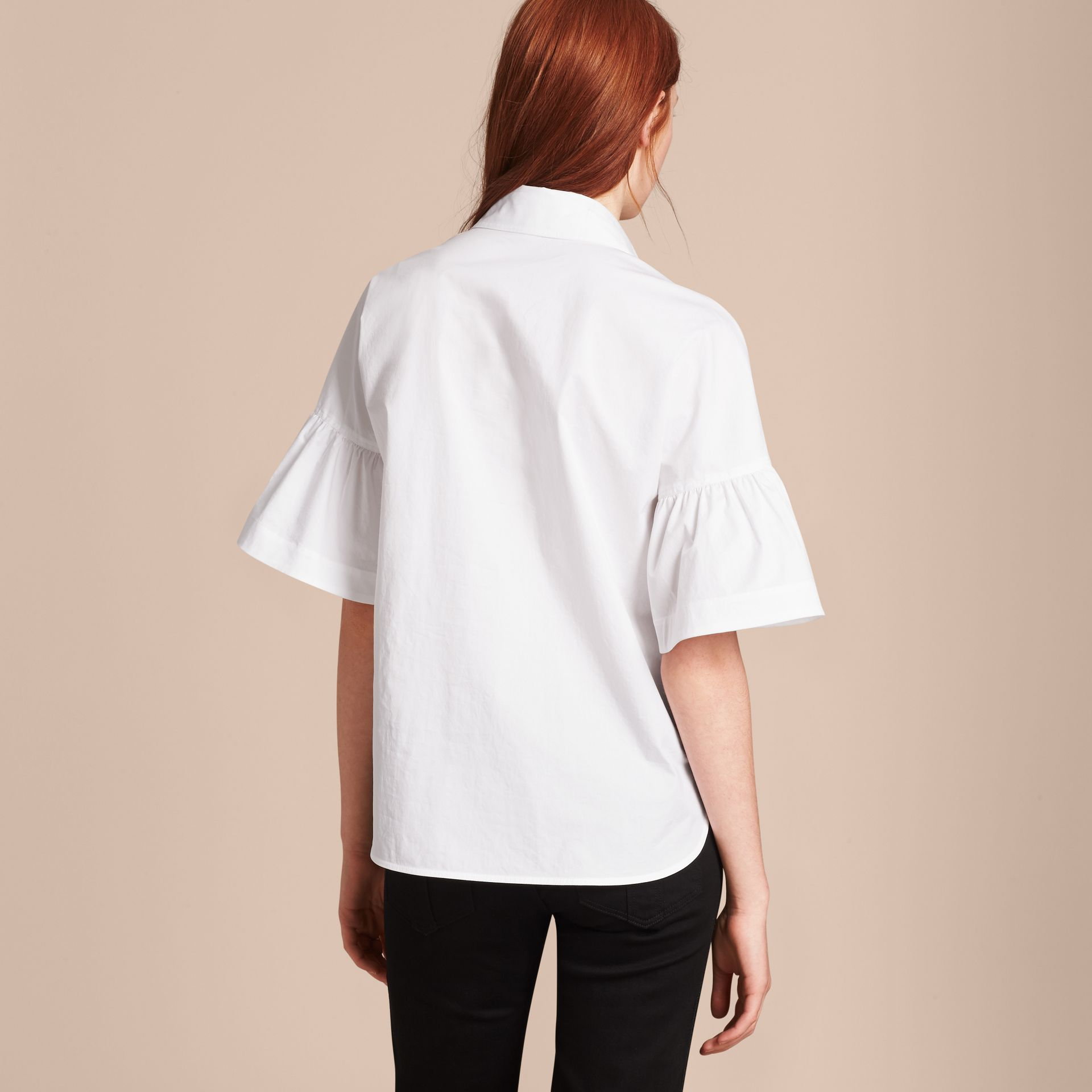White Stretch Cotton Shirt with Ruched Sleeves White - gallery image 3