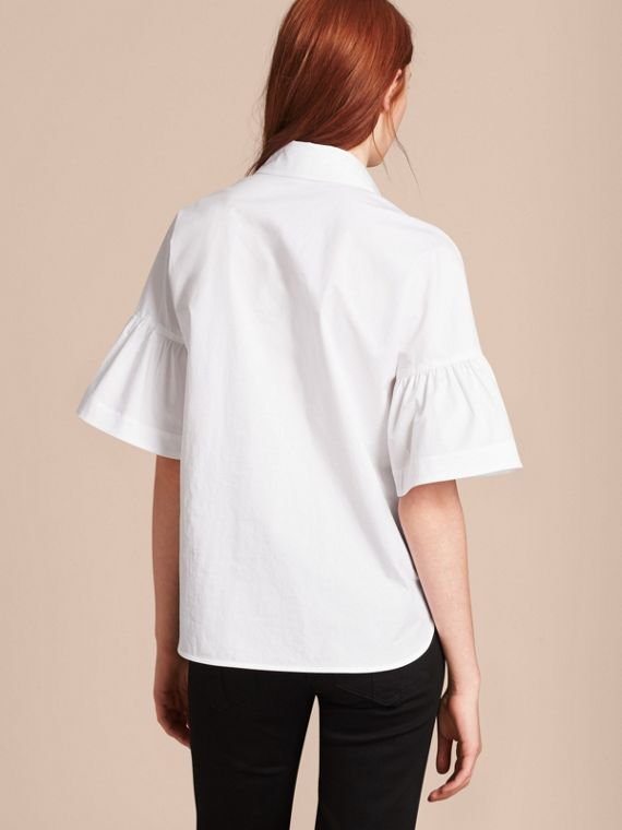 White Stretch Cotton Shirt with Ruched Sleeves White - cell image 2