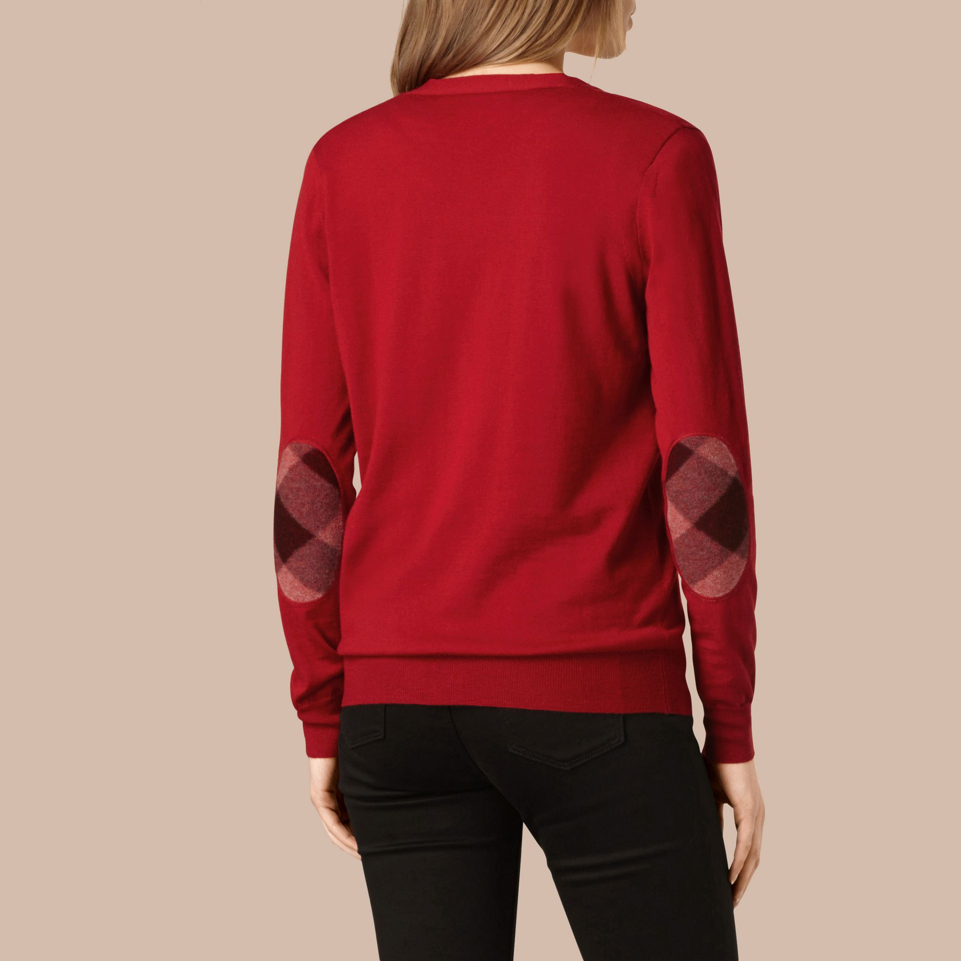 Check Detail Merino Wool Cardigan in Parade Red - gallery image 3