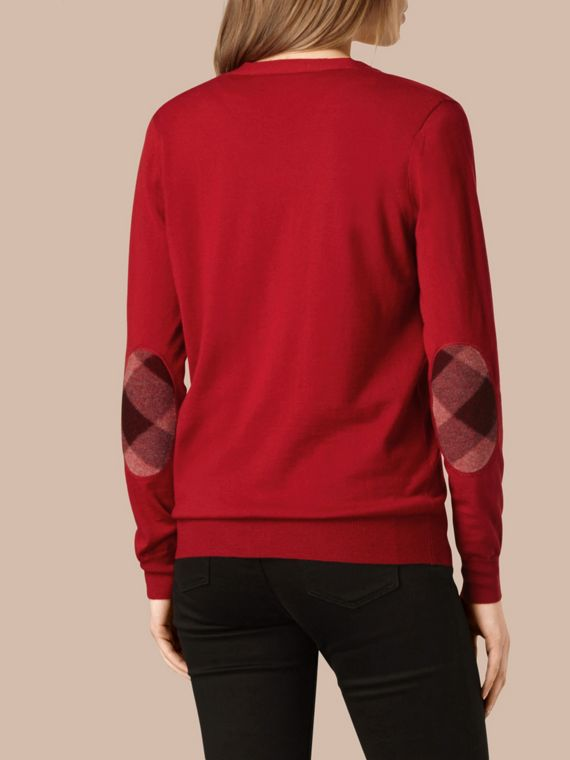 Check Detail Merino Wool Cardigan in Parade Red - cell image 2