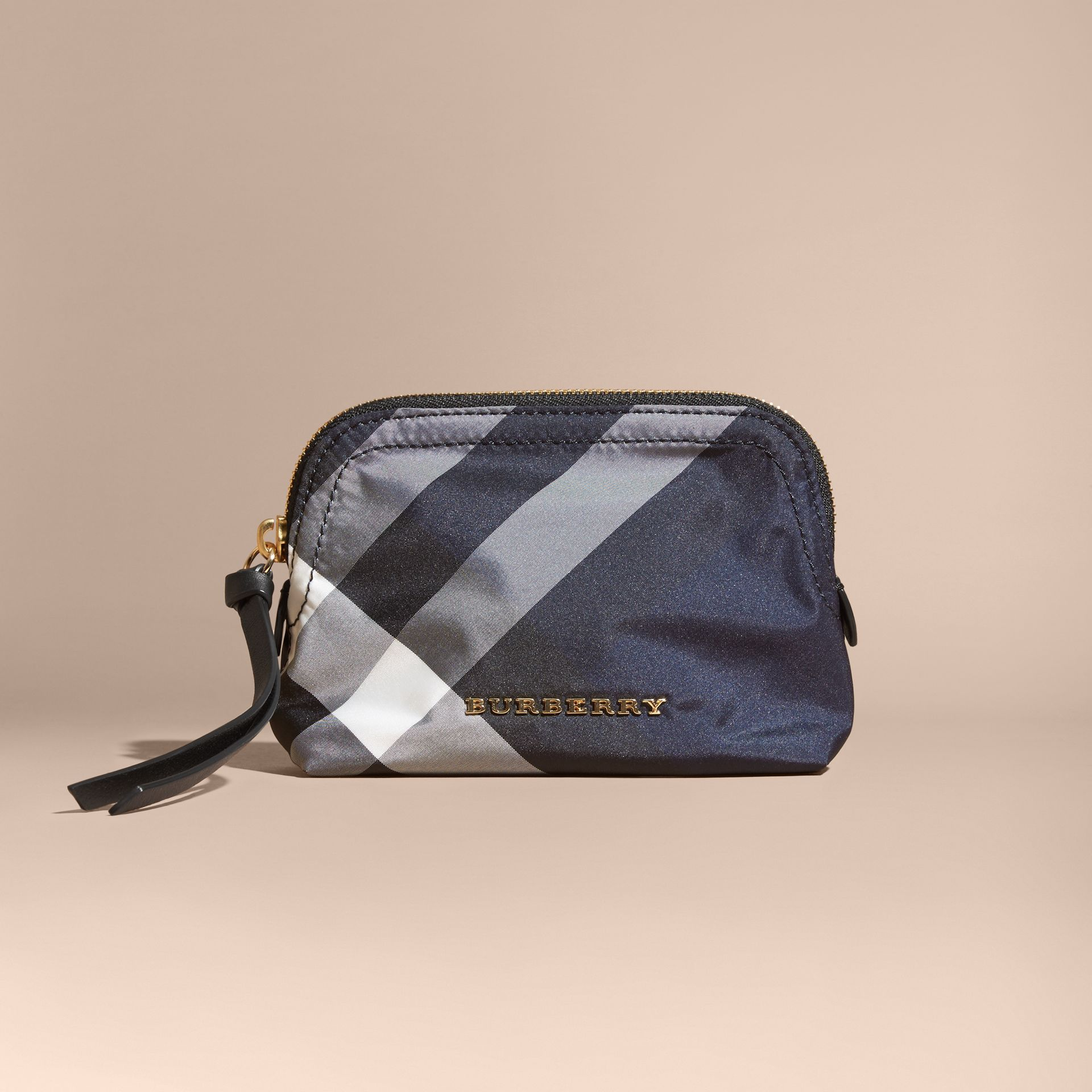 Small Zip-top Check Pouch in Indigo Blue - Women | Burberry - gallery image 6
