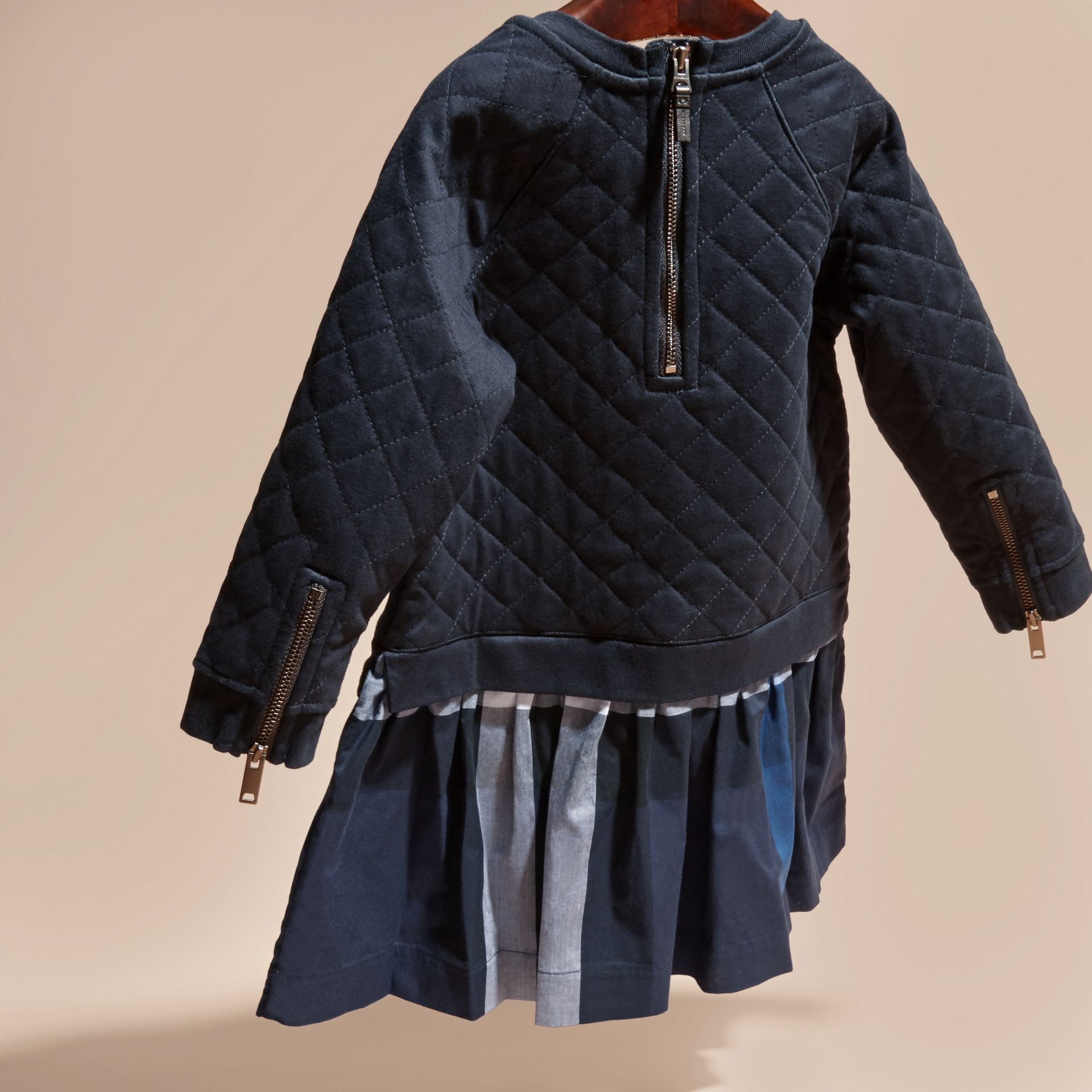 Navy Quilted Jersey and Check Cotton Day Dress Navy - gallery image 4
