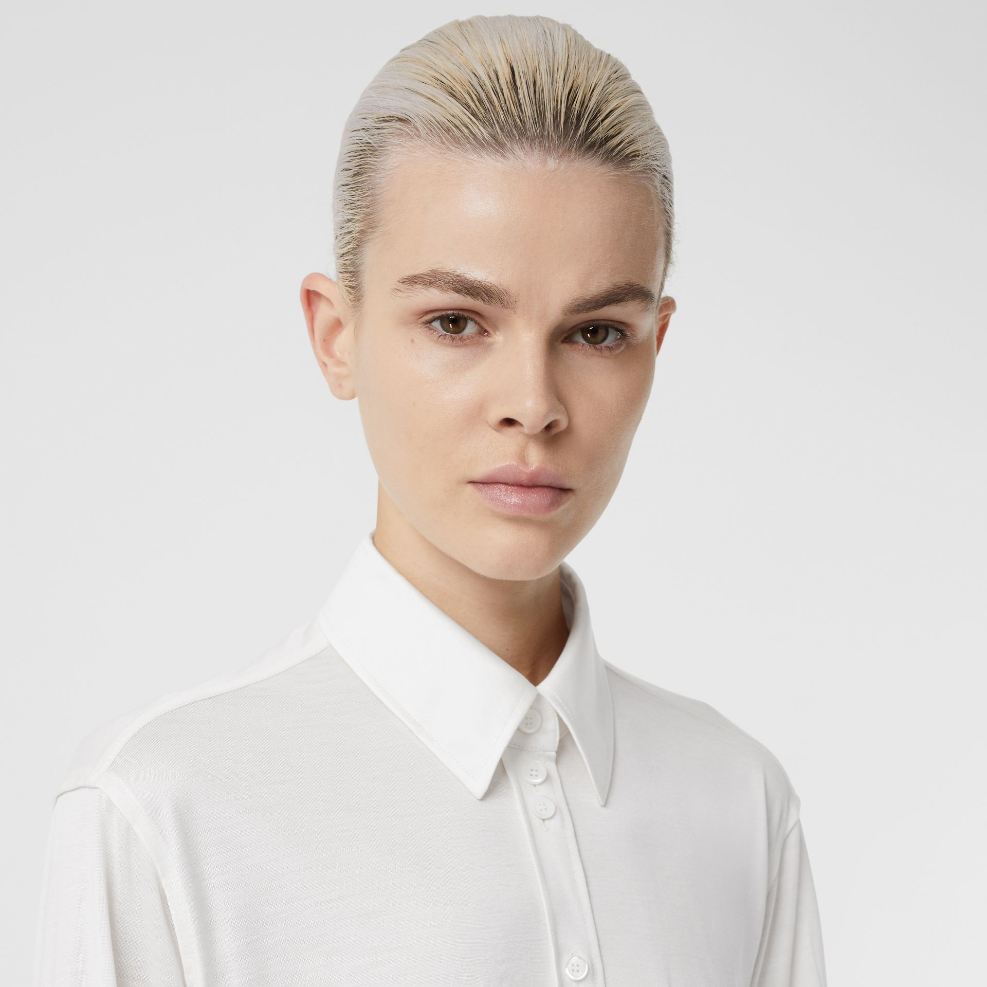 Silk Jersey Oversized Shirt in Natural White - Women | Burberry - gallery image 1