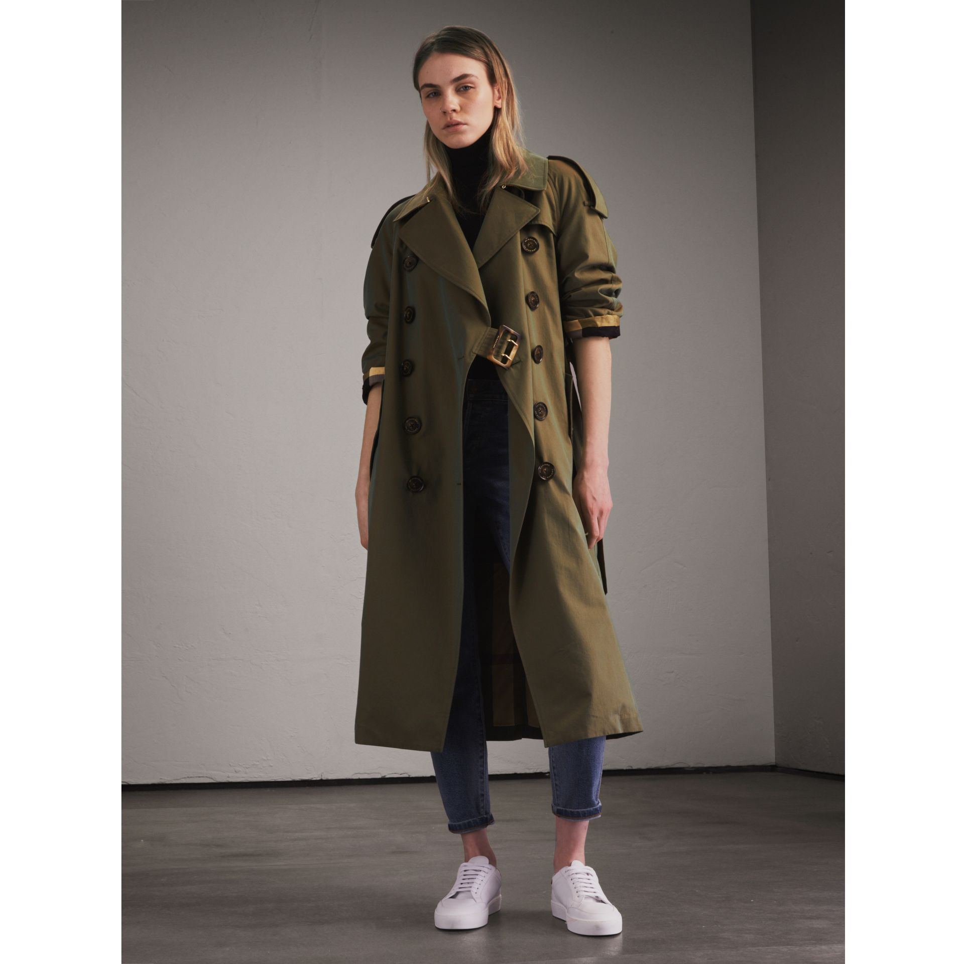 Tropical Gabardine Trench Coat in Bright Olive - Women | Burberry - gallery image 1