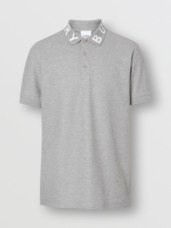 Logo Intarsia Cotton Piqué Polo Shirt in Pale Grey Melange - Men | Burberry - cell image 3