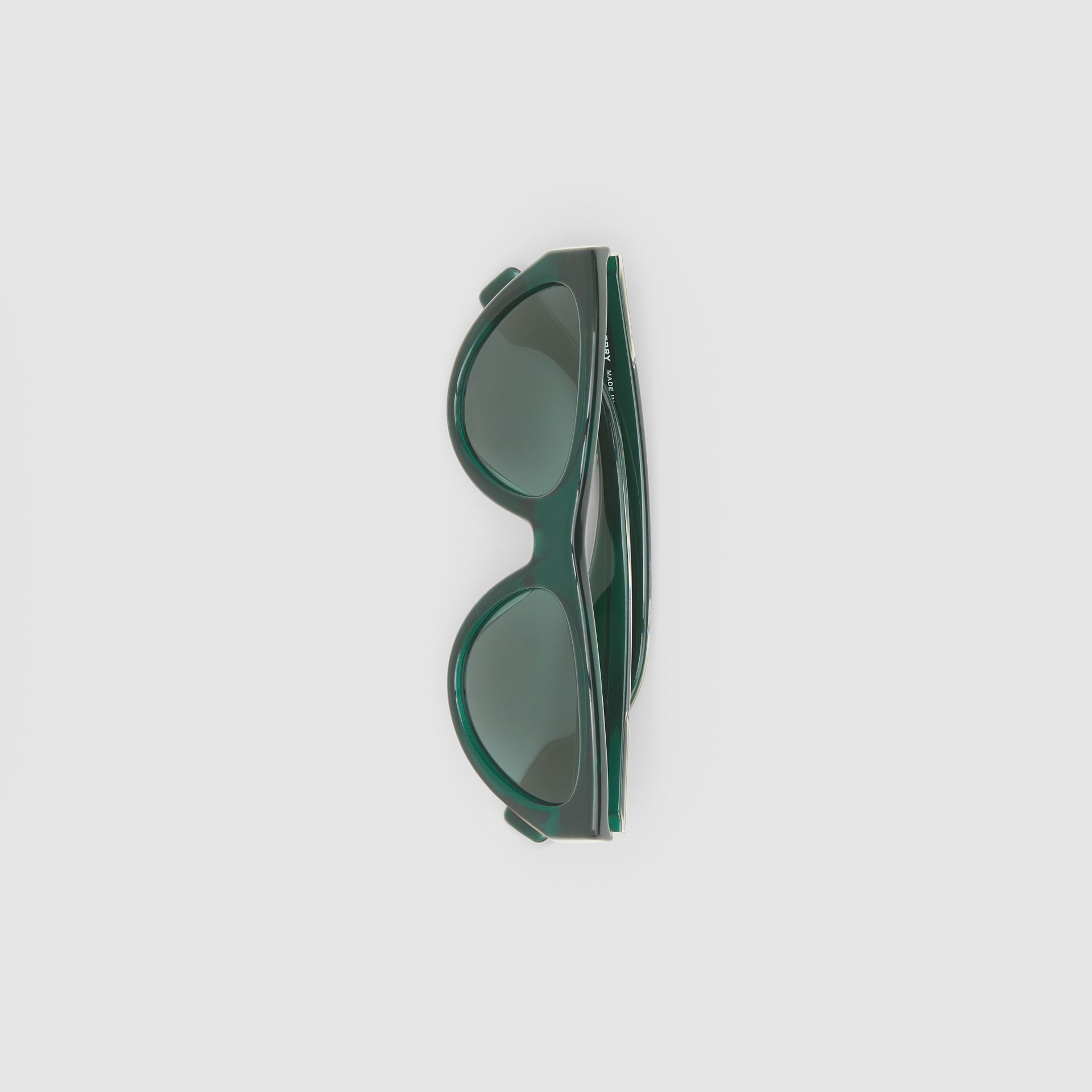 Triangular Frame Sunglasses in Green - Women | Burberry Canada - gallery image 3