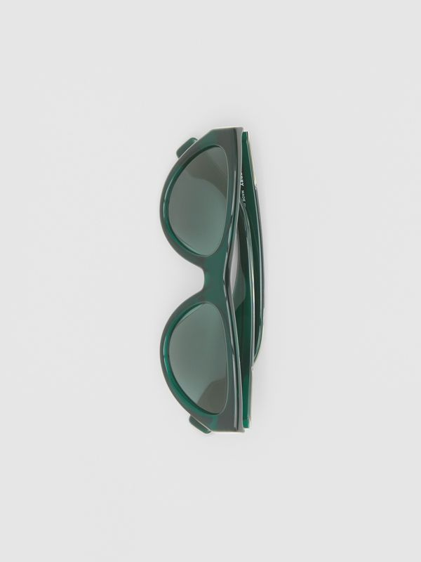 Triangular Frame Sunglasses in Green - Women | Burberry Canada - cell image 3