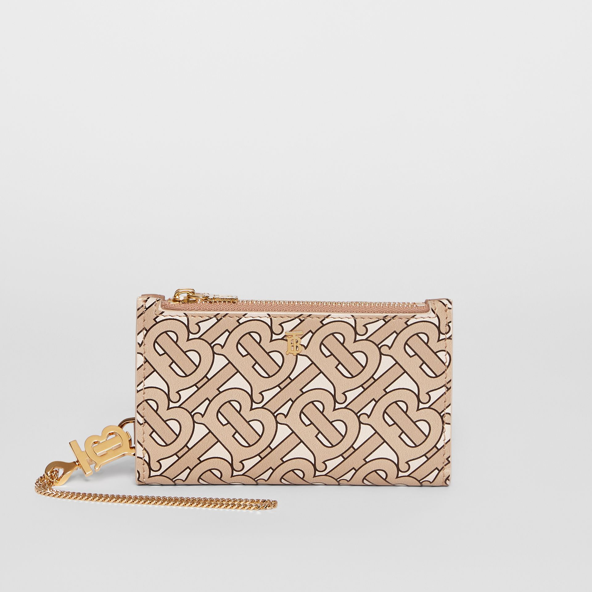 Monogram Motif Leather Wallet with Detachable Strap in Beige - Women | Burberry - gallery image 6