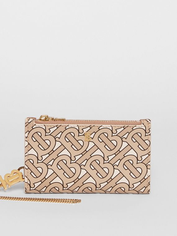 Monogram Motif Leather Wallet with Detachable Strap in Beige