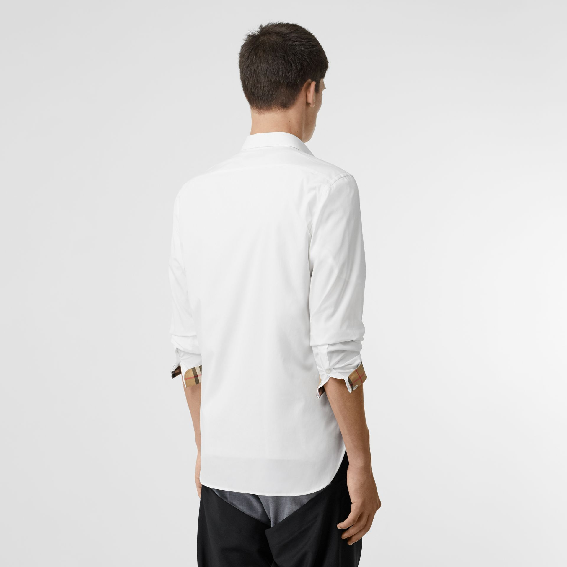 Stretch Cotton Poplin Shirt in White - Men | Burberry United Kingdom - gallery image 2