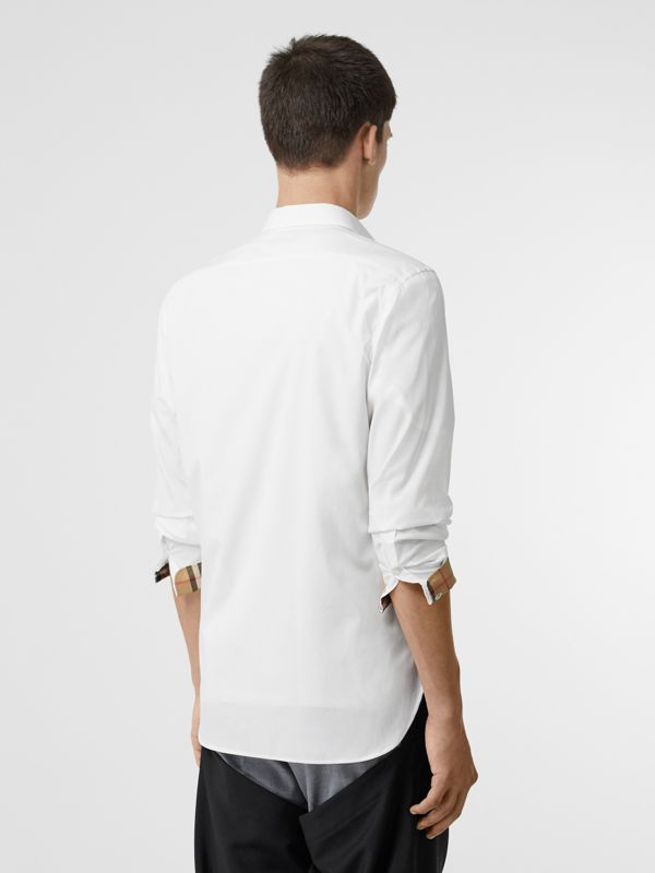 Stretch Cotton Poplin Shirt in White - Men | Burberry - cell image 2