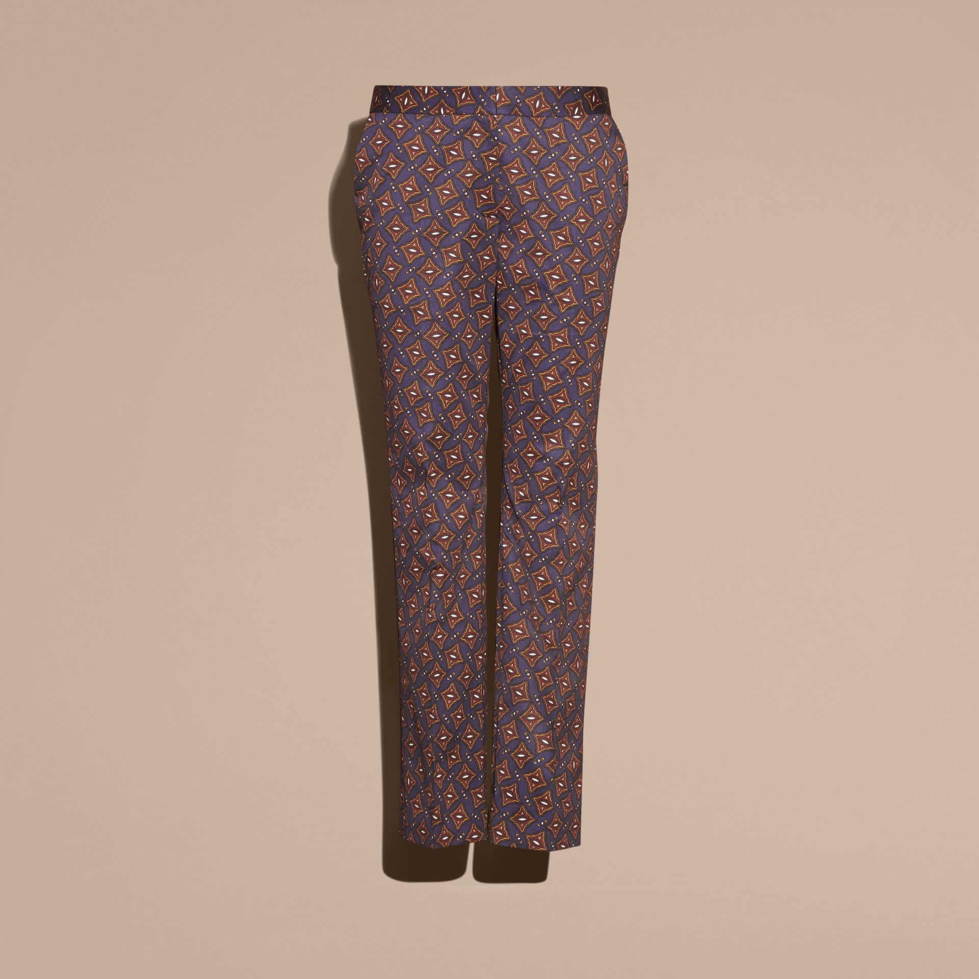 Cropped Scattered Geometric Tile Print Cotton Trousers - gallery image 4