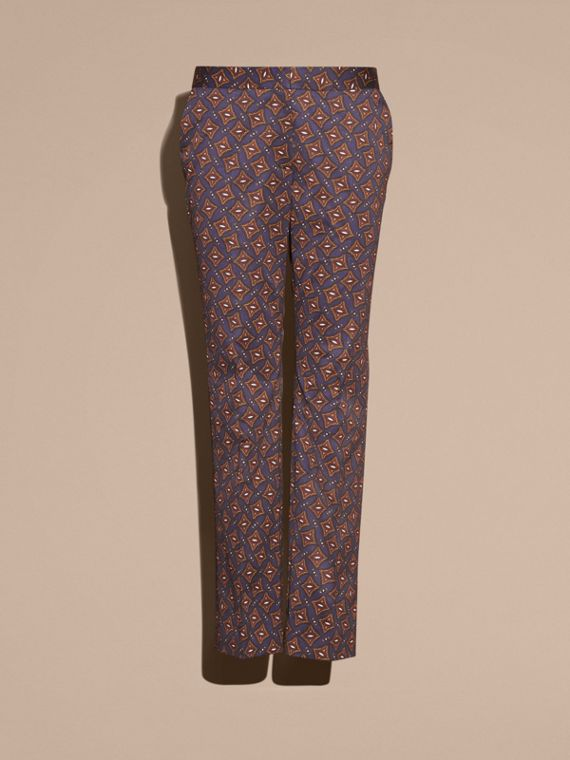 Navy Cropped Scattered Geometric Tile Print Cotton Trousers - cell image 3