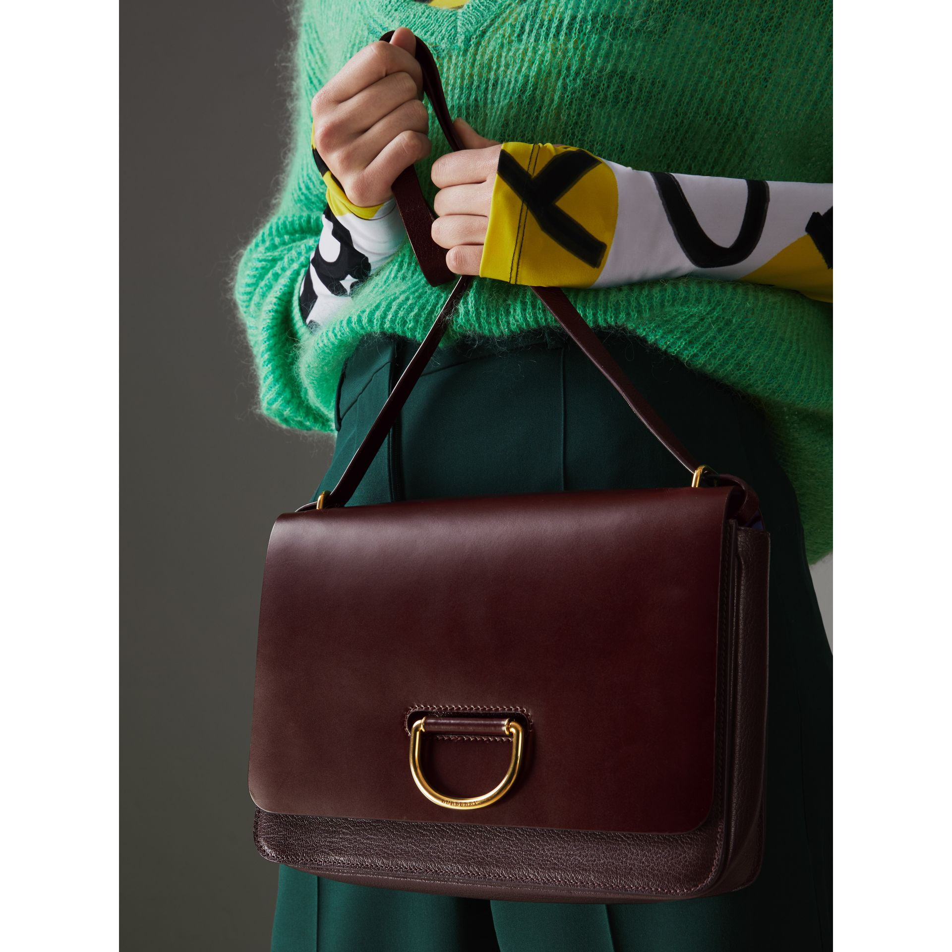 The Medium Leather D-ring Bag in Deep Claret - Women | Burberry Singapore - gallery image 3
