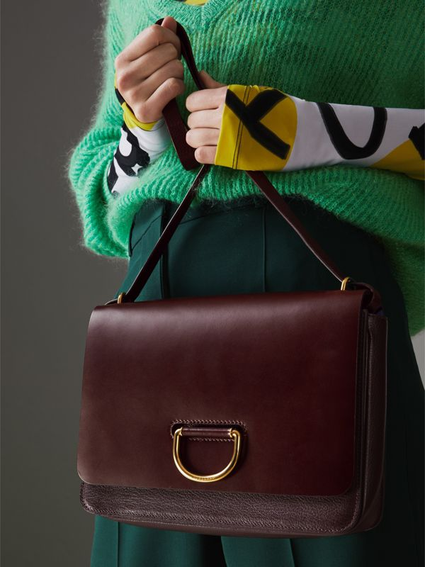 The Medium Leather D-ring Bag in Deep Claret - Women | Burberry Singapore - cell image 3