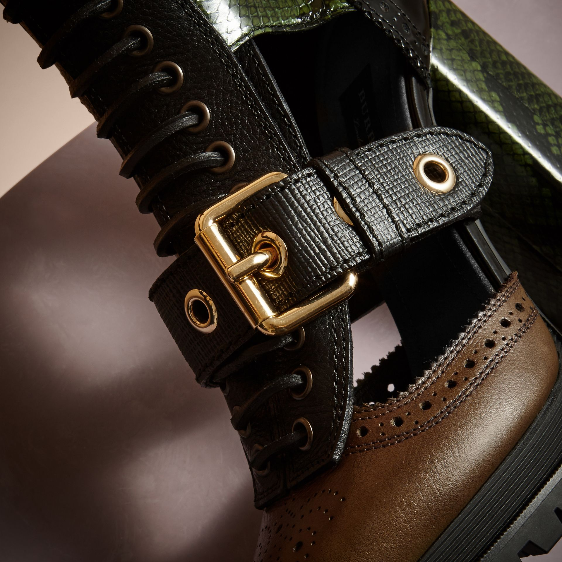 Deep green Leather and Snakeskin Cut-out Platform Boots Deep Green - gallery image 2
