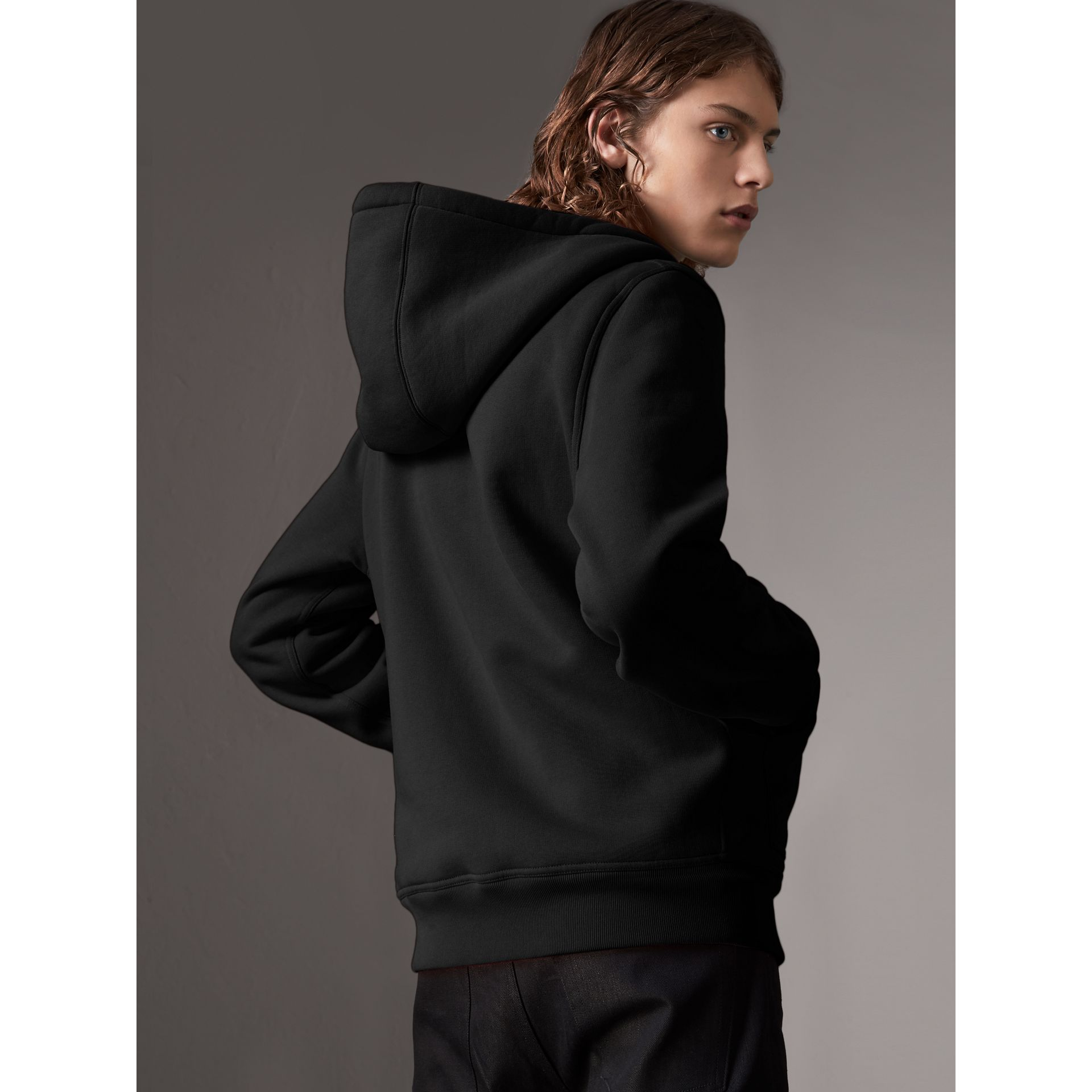 Check Detail Jersey Hooded Top in Black - Men | Burberry - gallery image 3