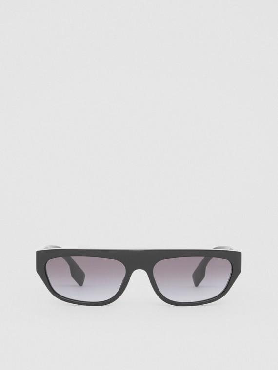 Óculos de sol com armação retangular e monograma (Preto)