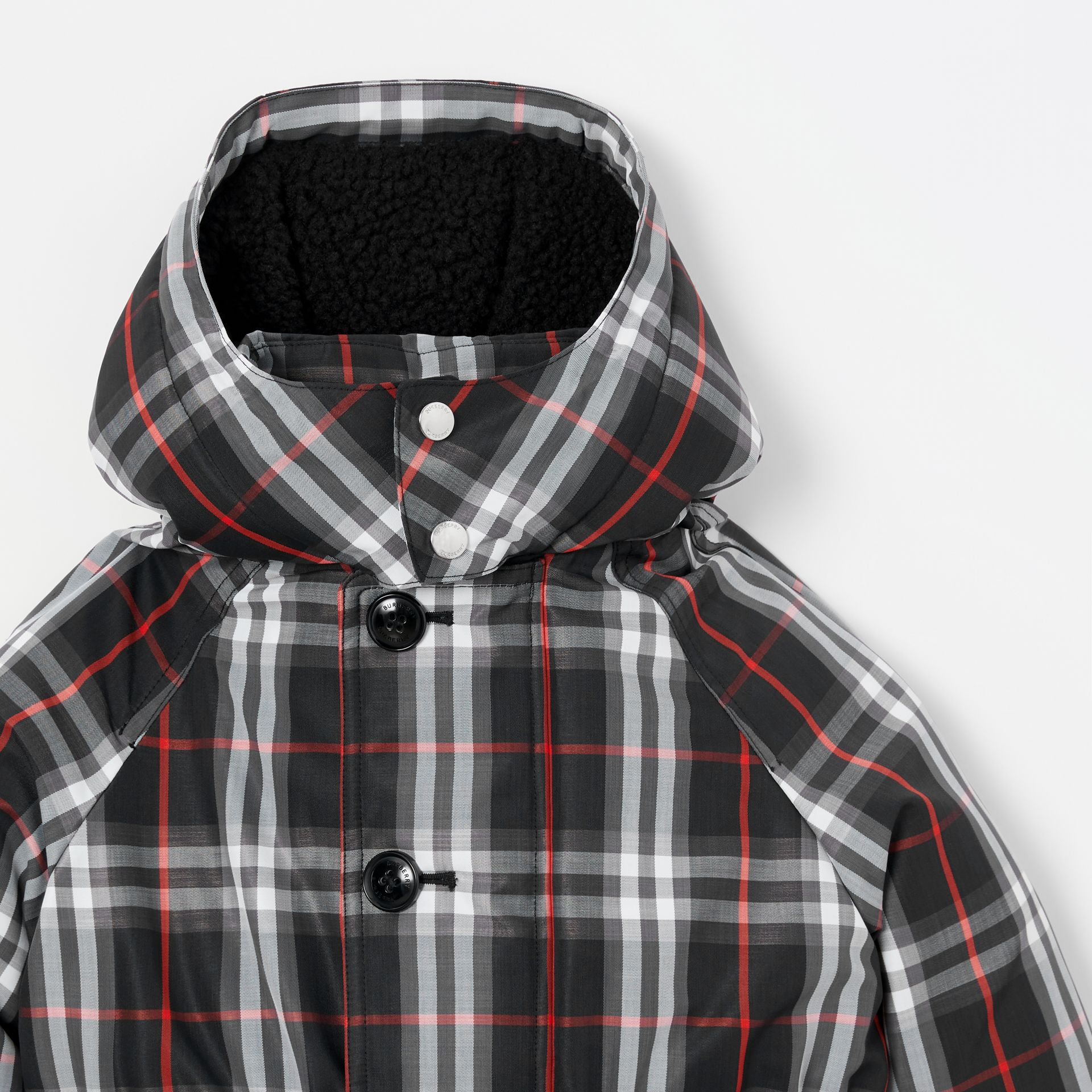 Vintage Check Down-filled Hooded Puffer Jacket in Black | Burberry Canada - gallery image 5
