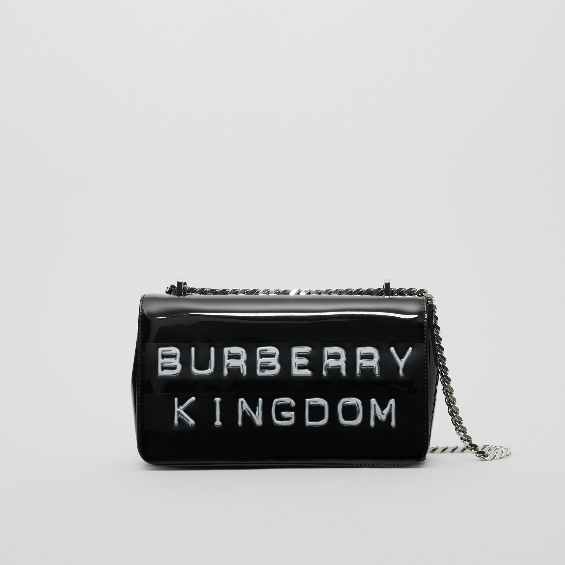Small Tape Print Laminated Lola Bag in Black | Burberry - gallery image 0