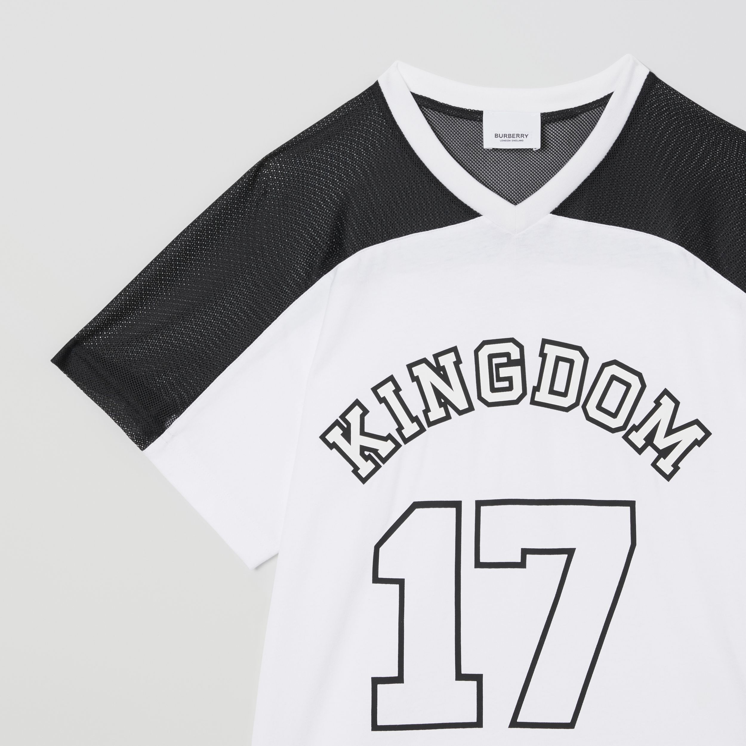 Mesh Panel Kingdom Print Cotton T-shirt in Black | Burberry - 2