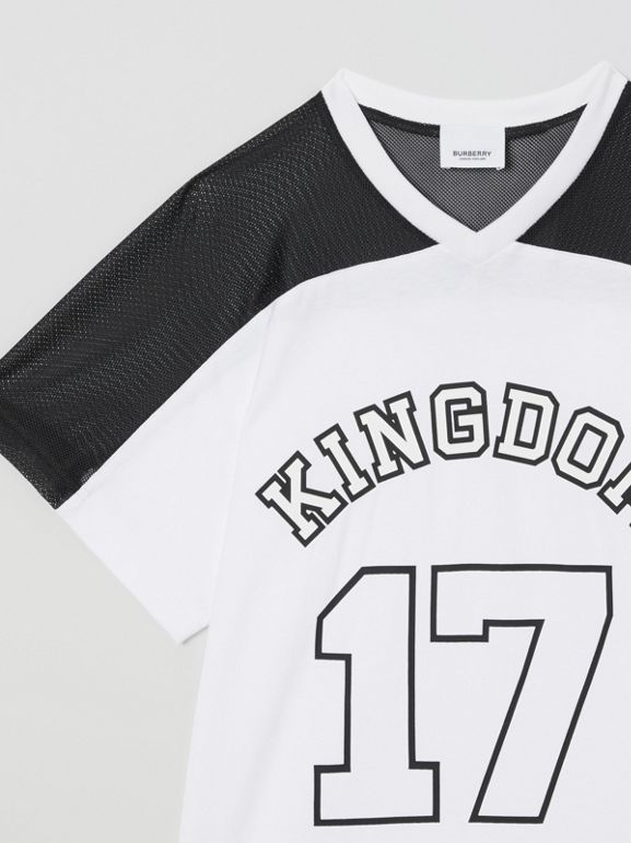 Mesh Panel Kingdom Print Cotton T-shirt in Black | Burberry - cell image 1
