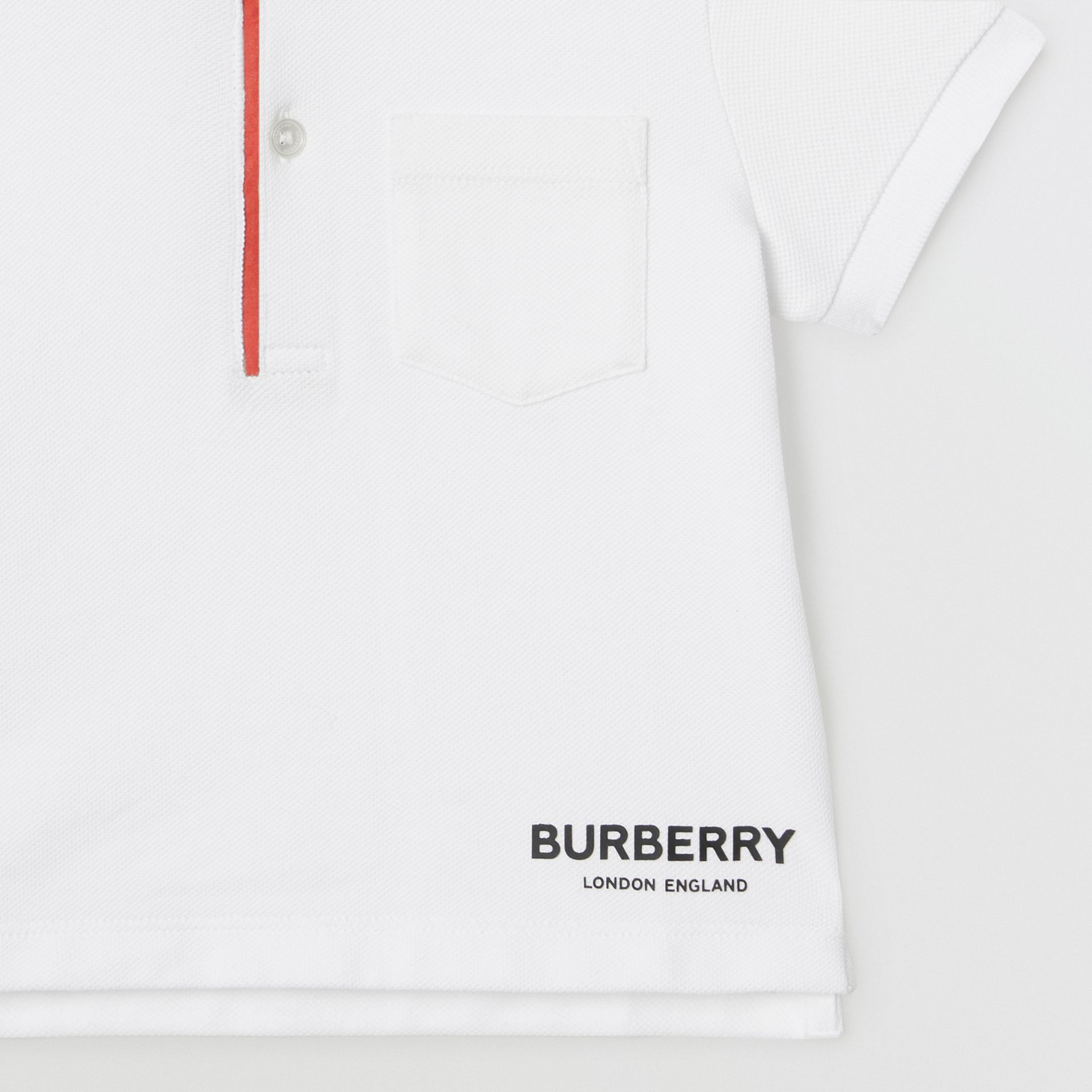Icon Stripe Placket Cotton Piqué Polo Shirt in White - Children | Burberry - gallery image 4