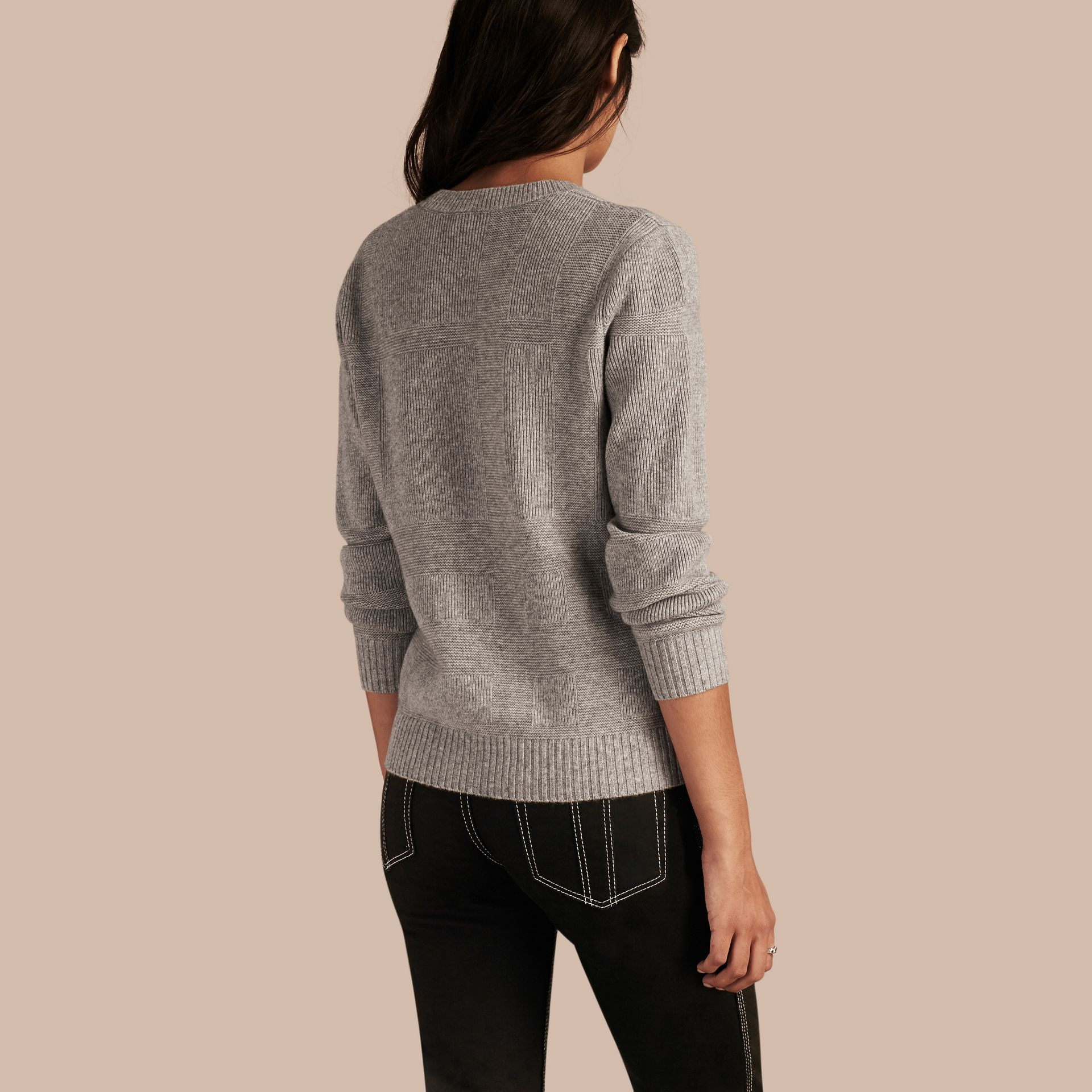 Check-knit Wool Cashmere Sweater Light Grey Melange - gallery image 3