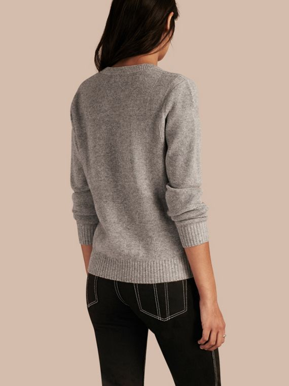 Check-knit Wool Cashmere Sweater Light Grey Melange - cell image 2