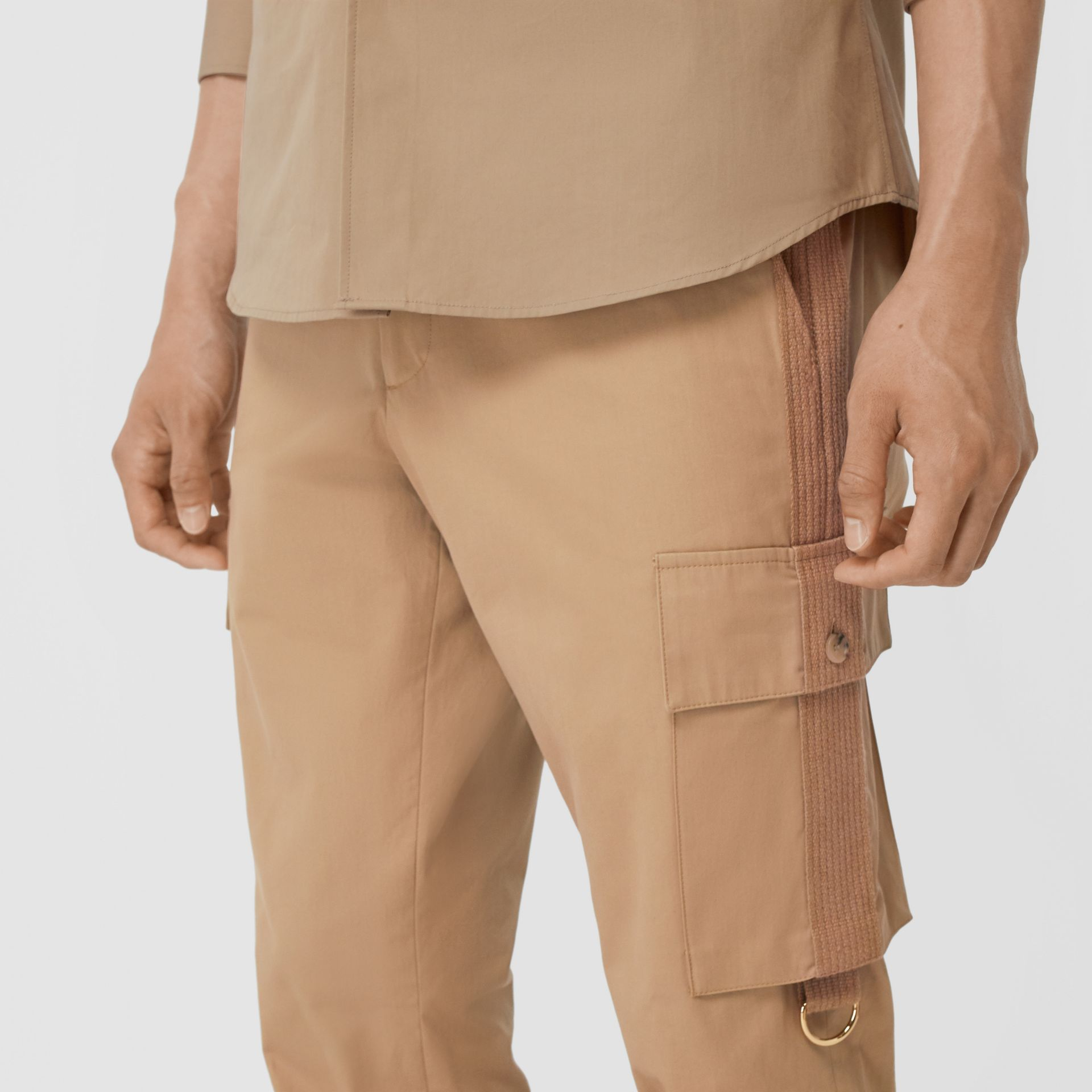 Cotton Twill Cargo Trousers in Pale Coffee - Men | Burberry - gallery image 1