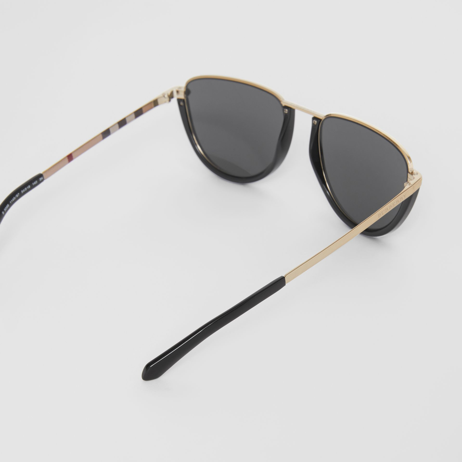 Half Moon Pilot Round Frame Sunglasses in Black - Women | Burberry Australia - gallery image 4