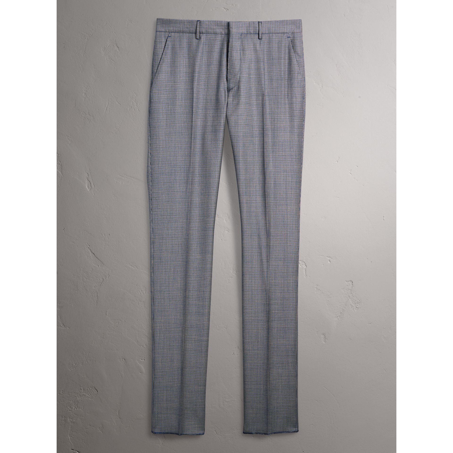 Slim Fit Houndstooth Wool Trousers in Light Blue - Men | Burberry United Kingdom - gallery image 4