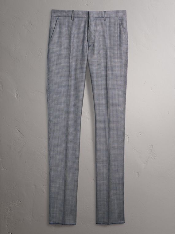 Slim Fit Houndstooth Wool Trousers in Light Blue - Men | Burberry - cell image 3