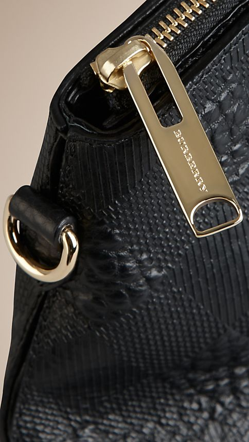 Black Small Embossed Check Leather Clutch Bag - Image 7