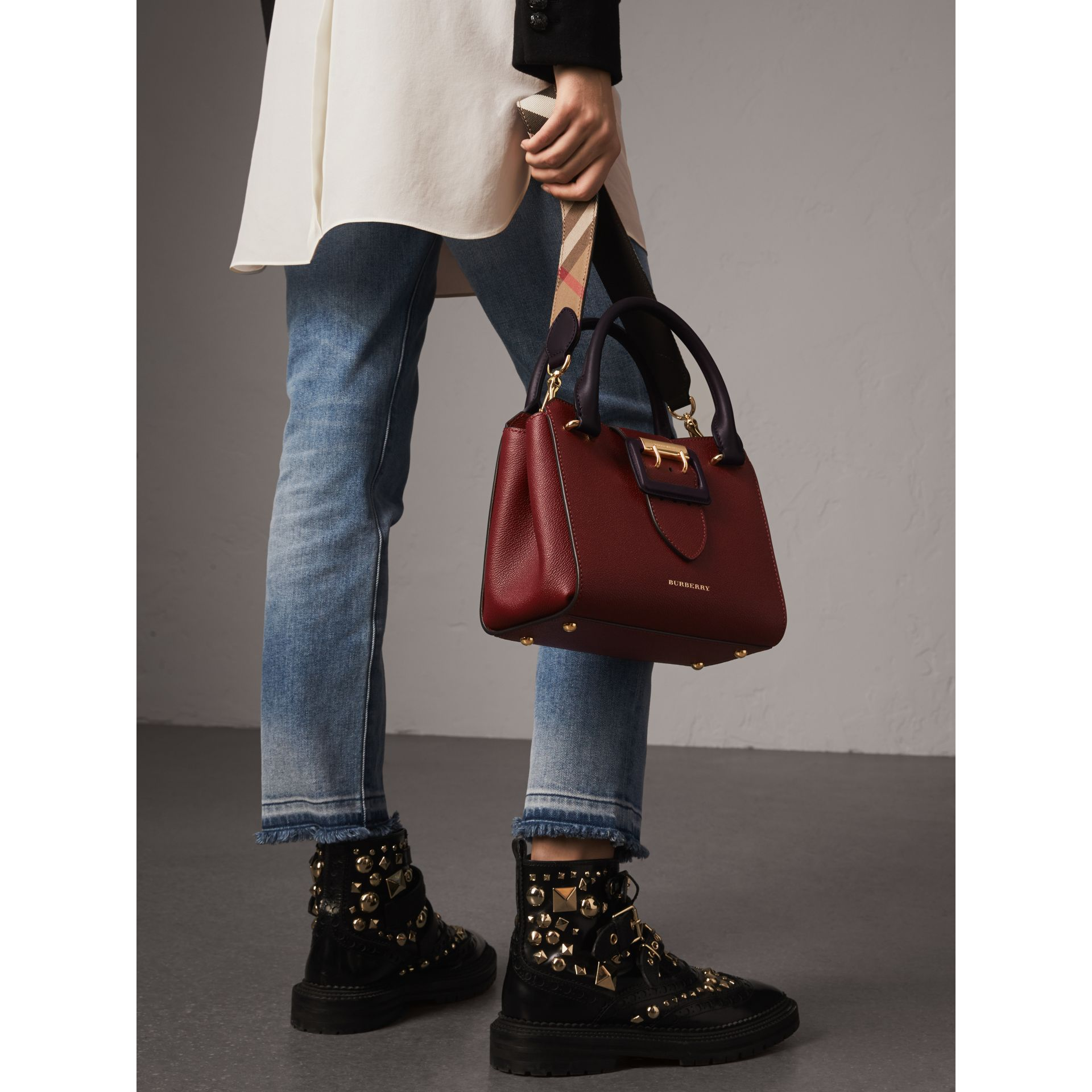 The Small Buckle Tote in Two-tone Leather in Burgundy - Women | Burberry United Kingdom - gallery image 8