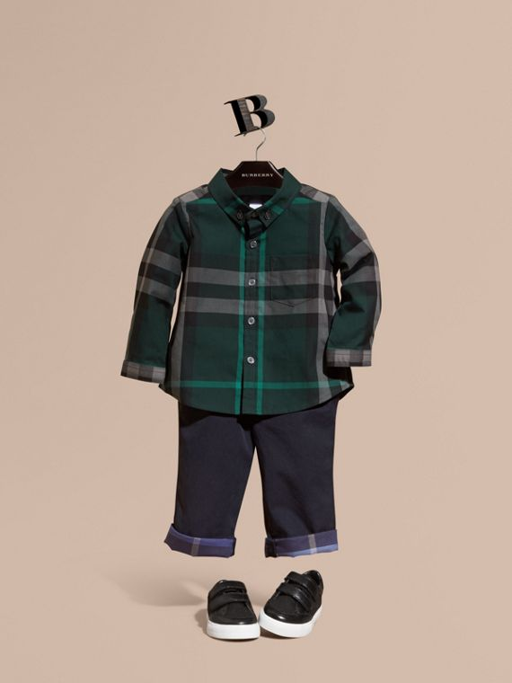 Check Button-Down Cotton Shirt Racing Green