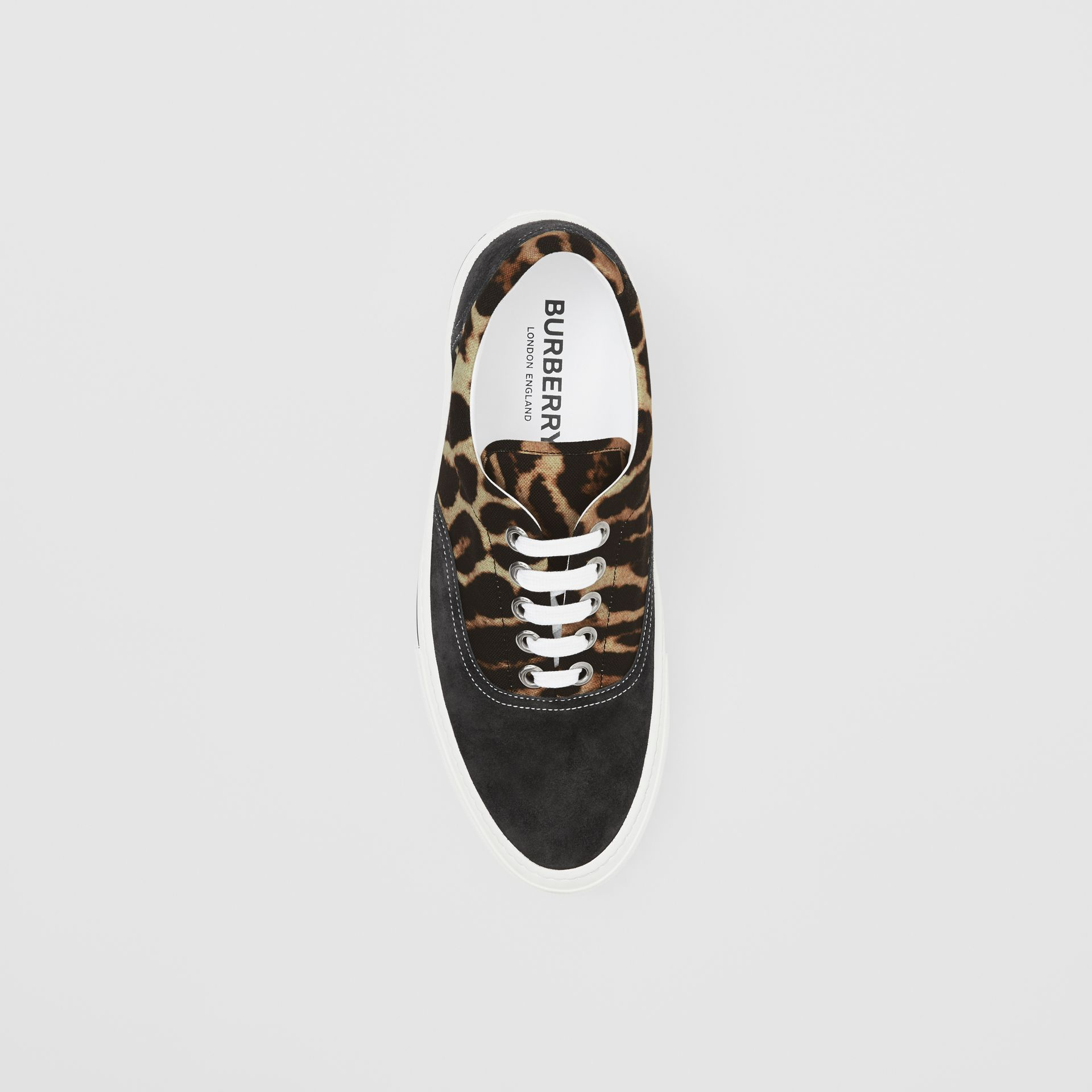 Leopard Print Nylon and Suede Sneakers in Black/honey - Men | Burberry United Kingdom - gallery image 4
