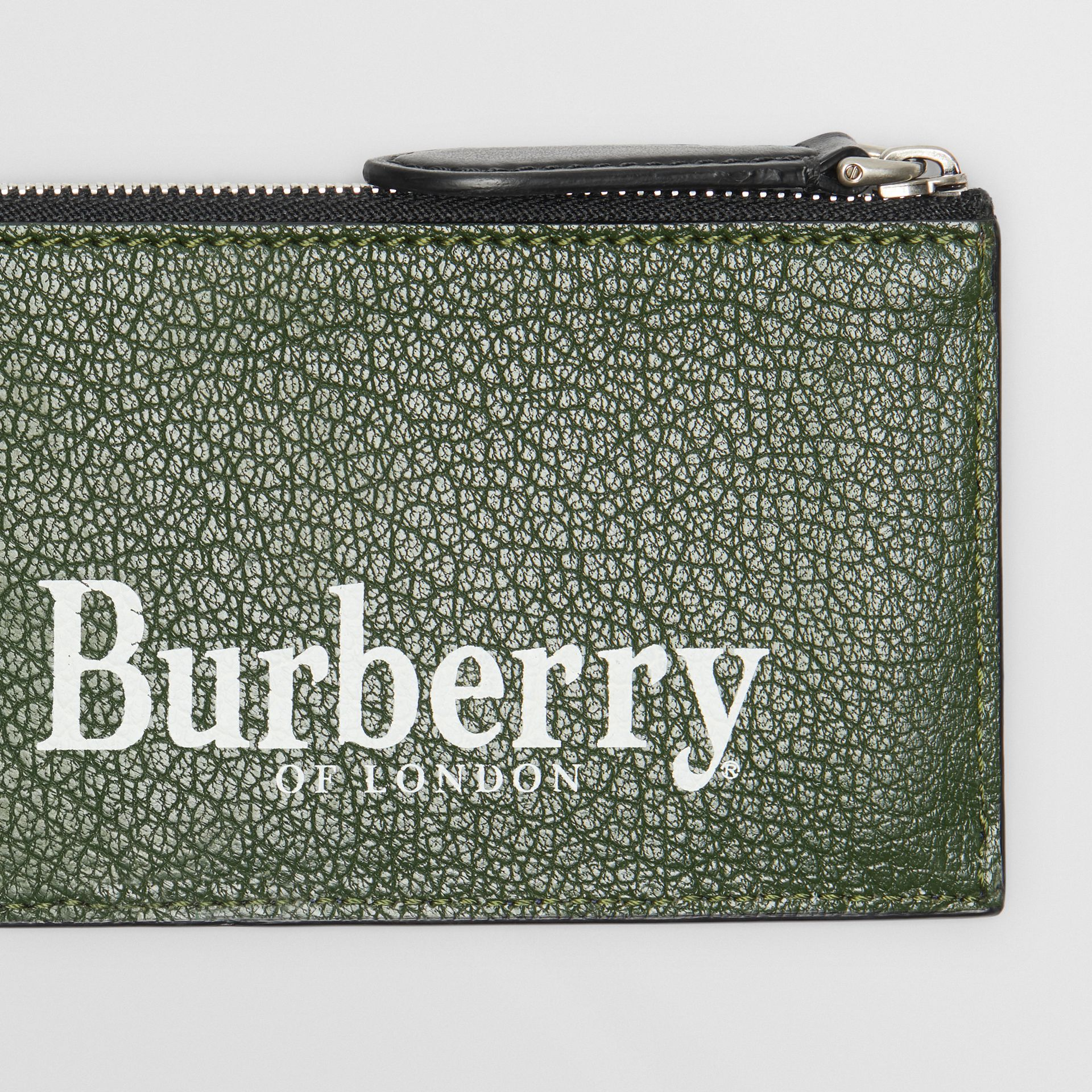 Logo Print Leather Zip Card Case in Storm Blue - Men | Burberry - gallery image 1