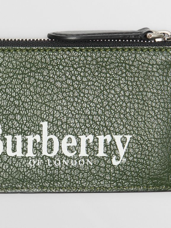 Logo Print Leather Zip Card Case in Storm Blue - Men | Burberry - cell image 1