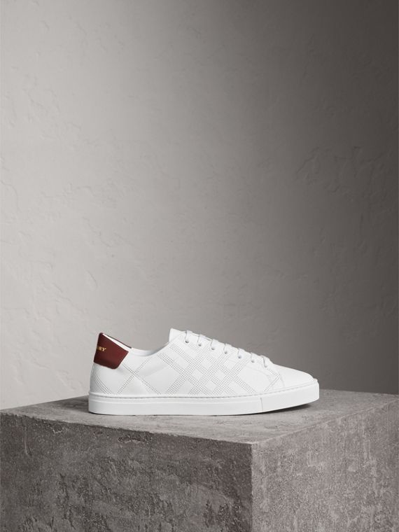 Perforated Check Leather Trainers in Optic White - Men | Burberry - cell image 3