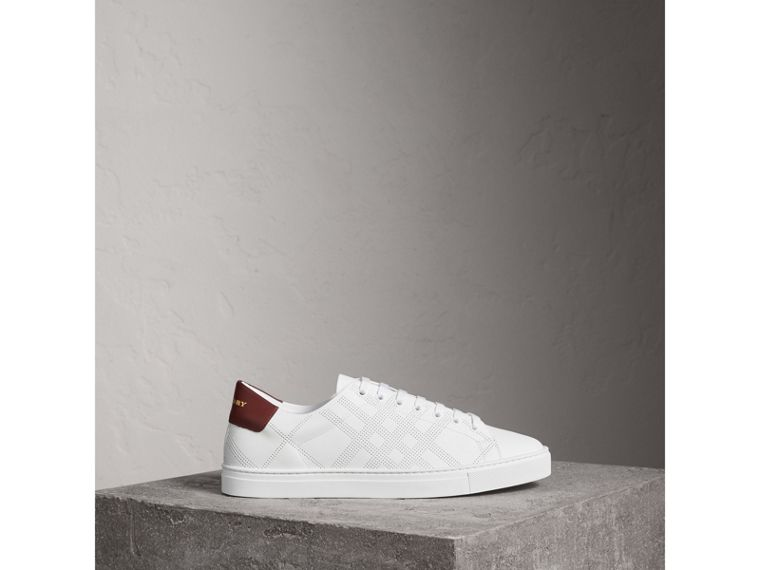 Perforated Check Leather Sneakers in Optic White | Burberry - cell image 4