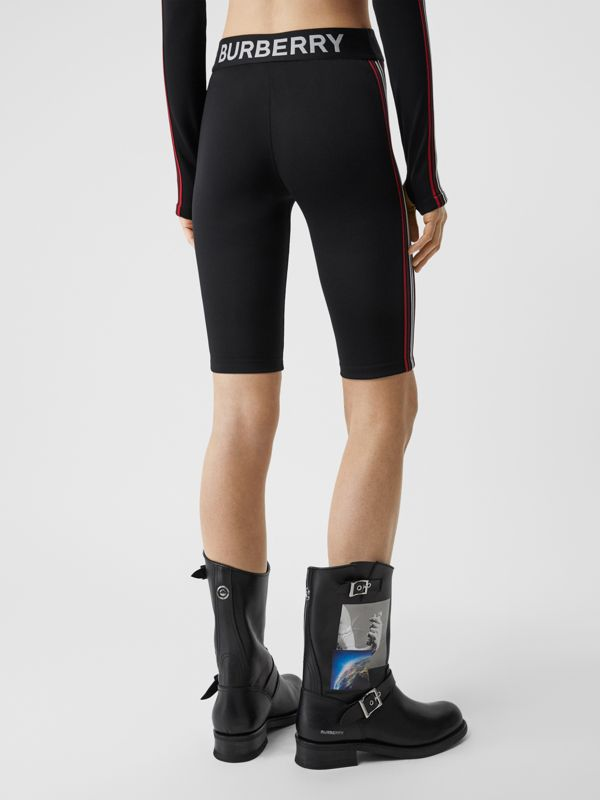 Logo Graphic Stretch Jersey Cycling Shorts in Black - Women | Burberry - cell image 2