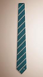 Modern Cut Striped Silk Tie