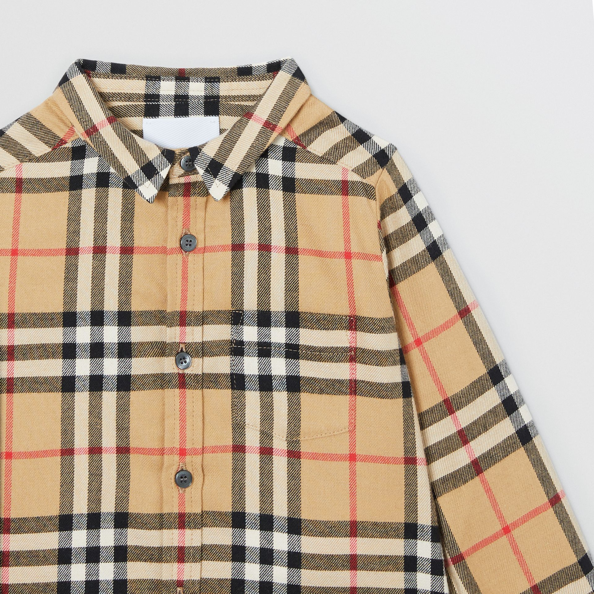 Vintage Check Cotton Flannel Shirt in Archive Beige - Children | Burberry - gallery image 4
