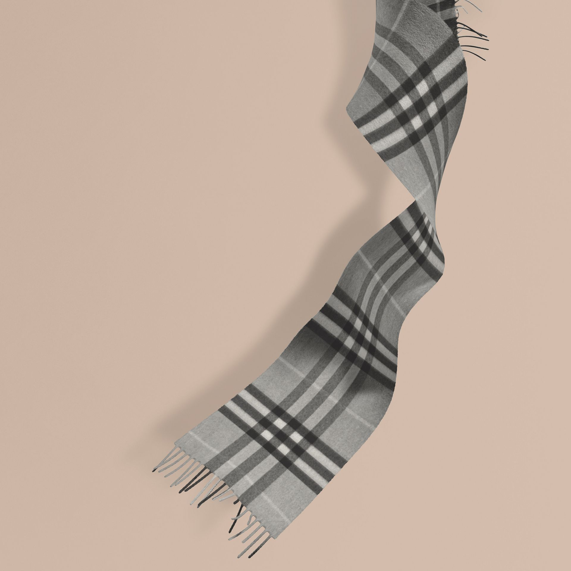 The Mini Classic Cashmere Scarf in Check Pale Grey - gallery image 1