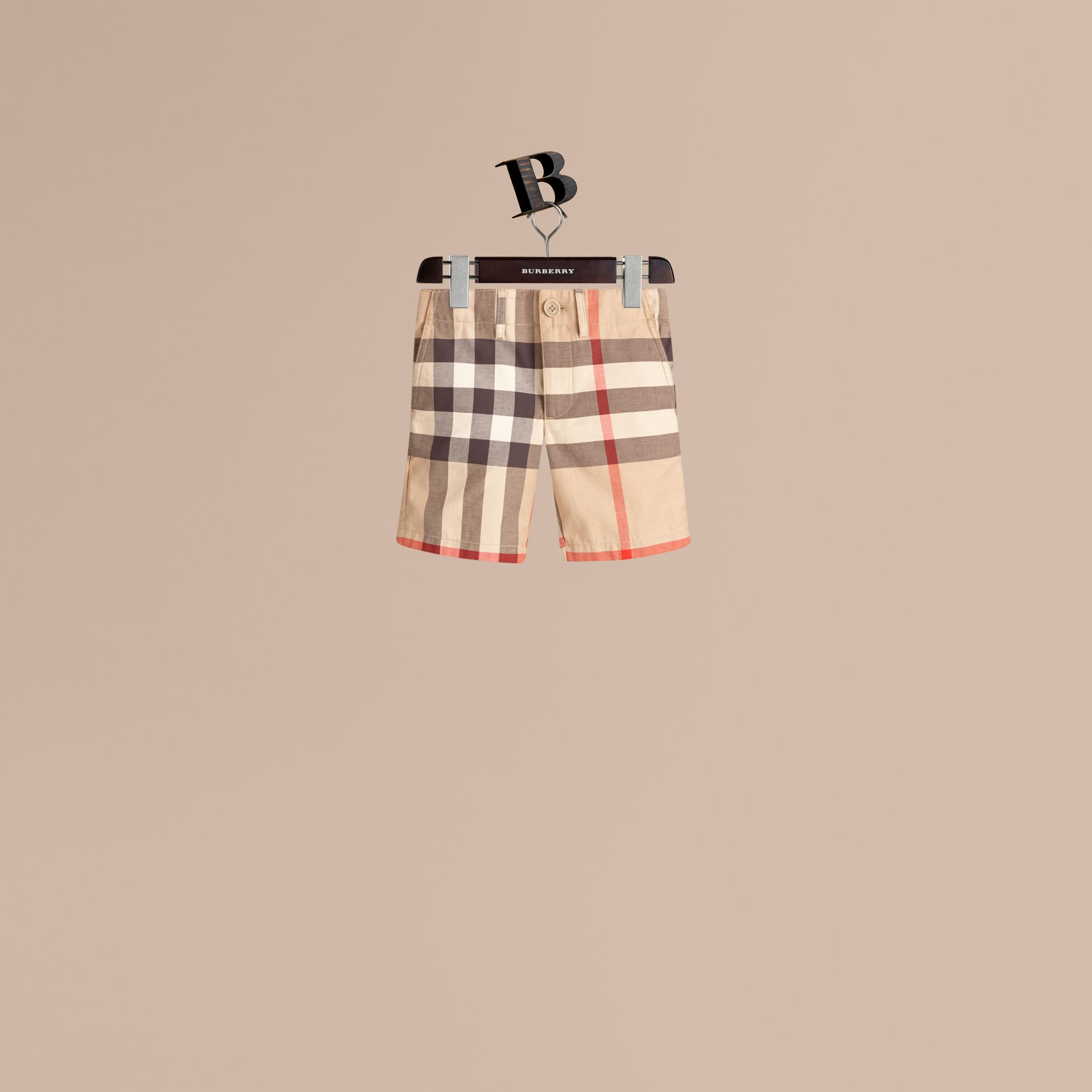 Check Cotton Chino Shorts in Classic - Boy | Burberry Canada - gallery image 1